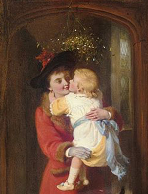 """A Christmas Kiss"" by George Bernard O'Neill. Public Domain image."