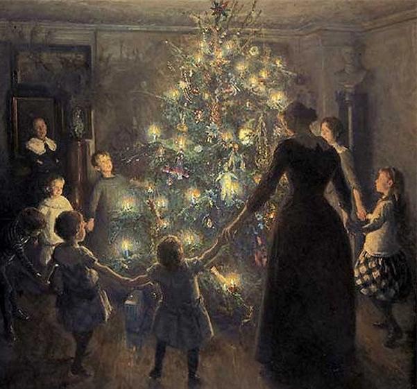 """Glade jul"" by Viggo Johansen. Public Domain image."