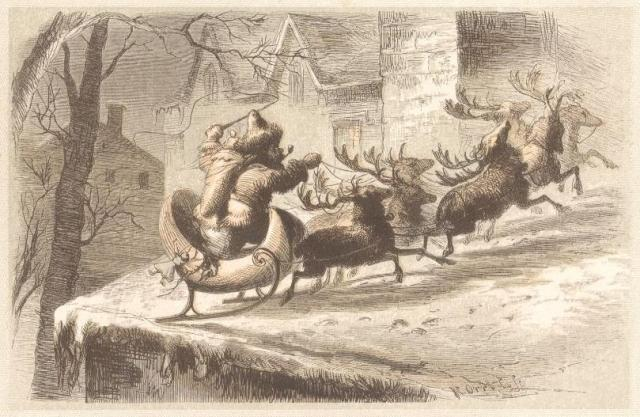 """Santa's Sleigh Lands on a Roof."" Public Domain image."