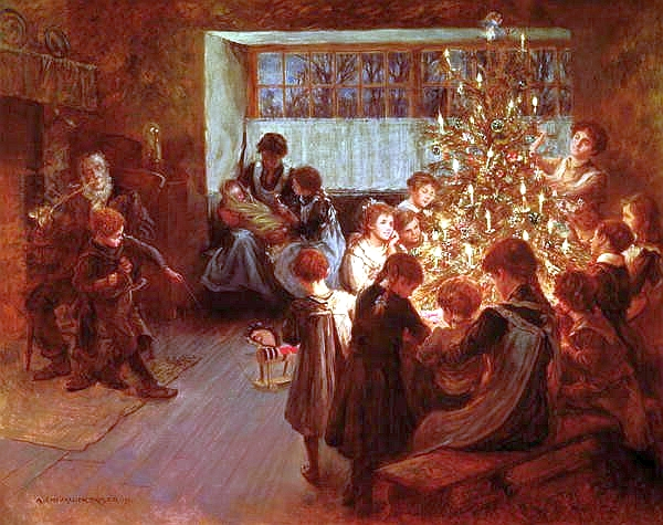 """The Christmas Tree"" by Albert Chevallier Tayler. Public Domain image."